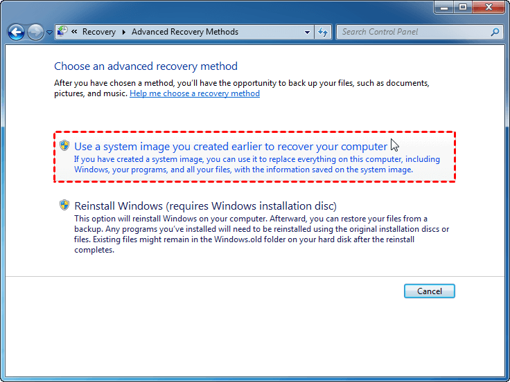 Restore from a System Image