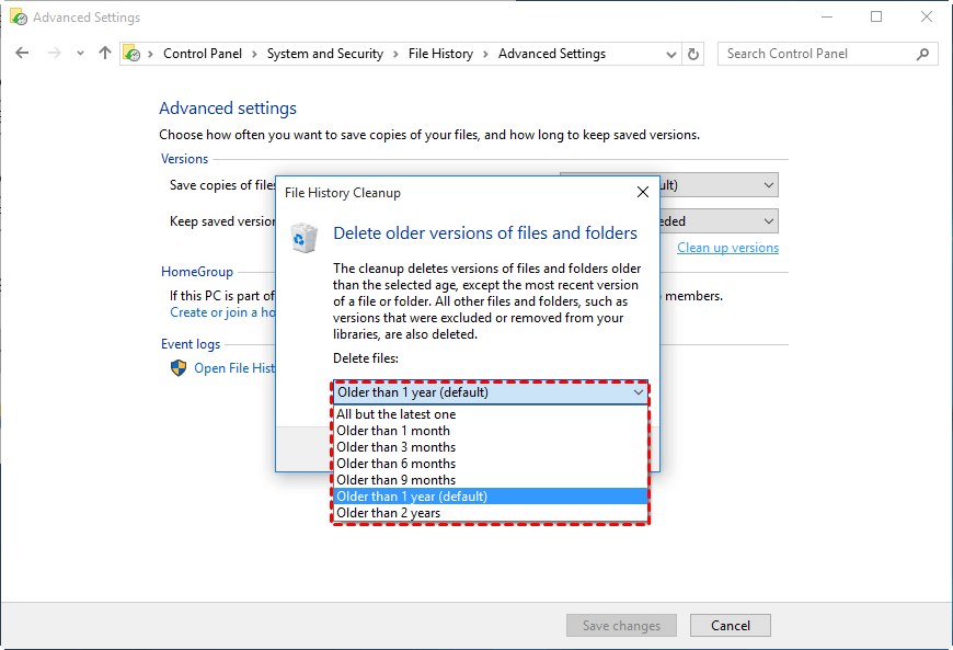 Set How Long to Keep Saved Versions