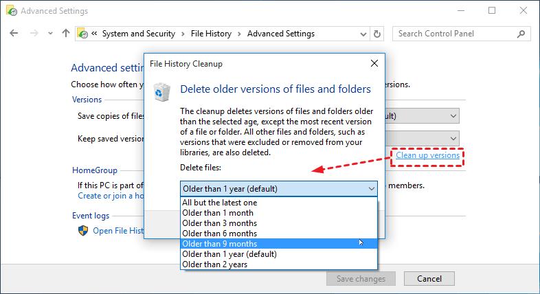 Delete Old Backup Images File History