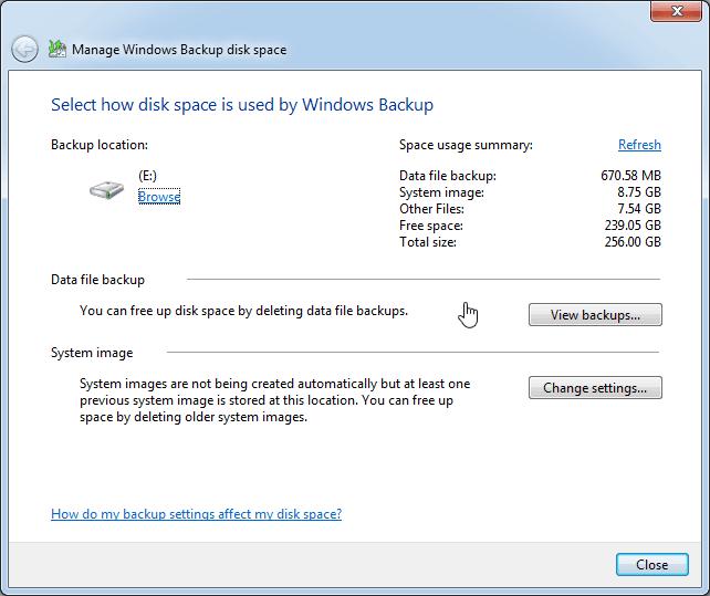 Manage Windows Backup Disk Space
