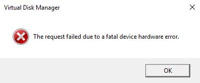 A Fatal Device Hardware Error