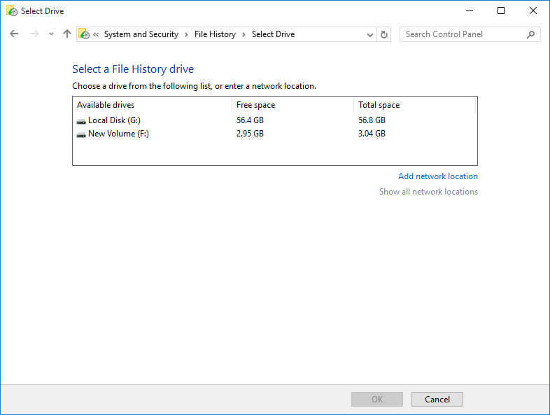 Choose A File History Drive Or Another Drive