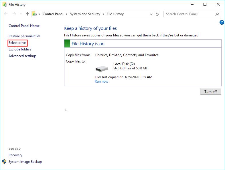 Select File History Drive