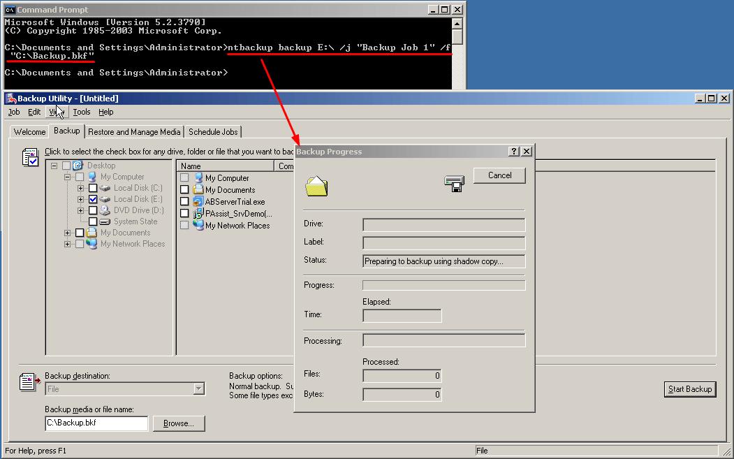 NTBackup Backup Files on E Drive