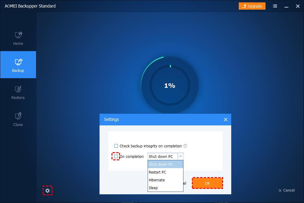 Shutdown PC During Backup
