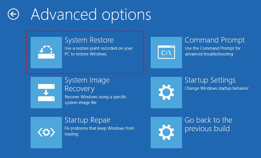 Restore From Advanced Options