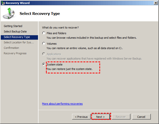 Recover System State