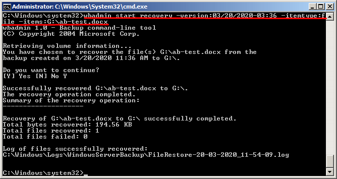 Create Files and Folders Backup with Wbadmin Command Line
