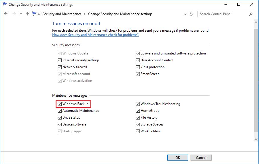 Enable Windows 10 Backup Notification