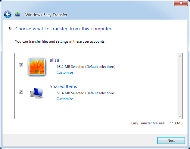 Choose Data To Transfer From This Computer