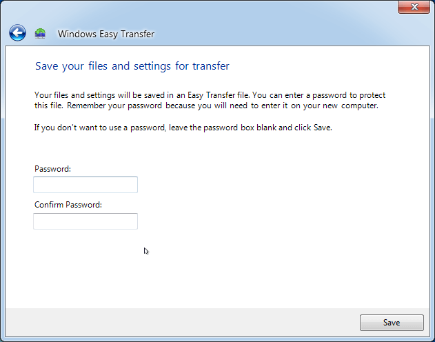 Windows Easy Transfer Password