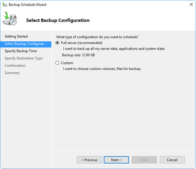 Select Backup Configuration