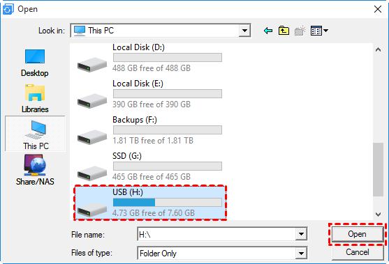 Backup to USB