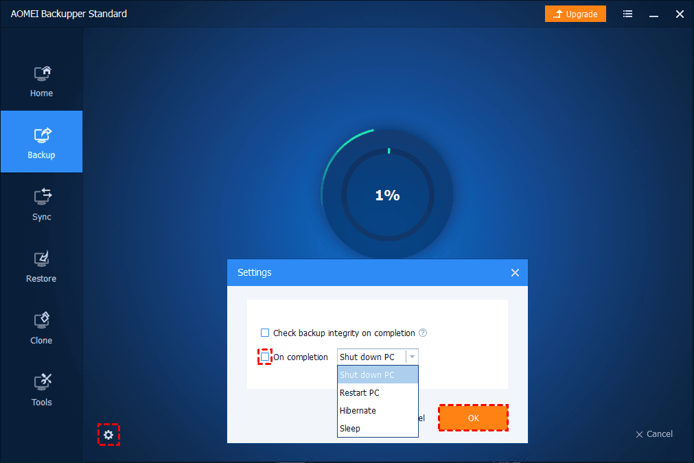 Disk Backup Shutdown