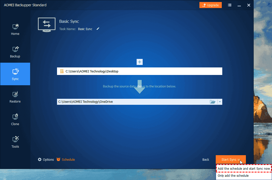 Start Sync Desktop to Onedrive