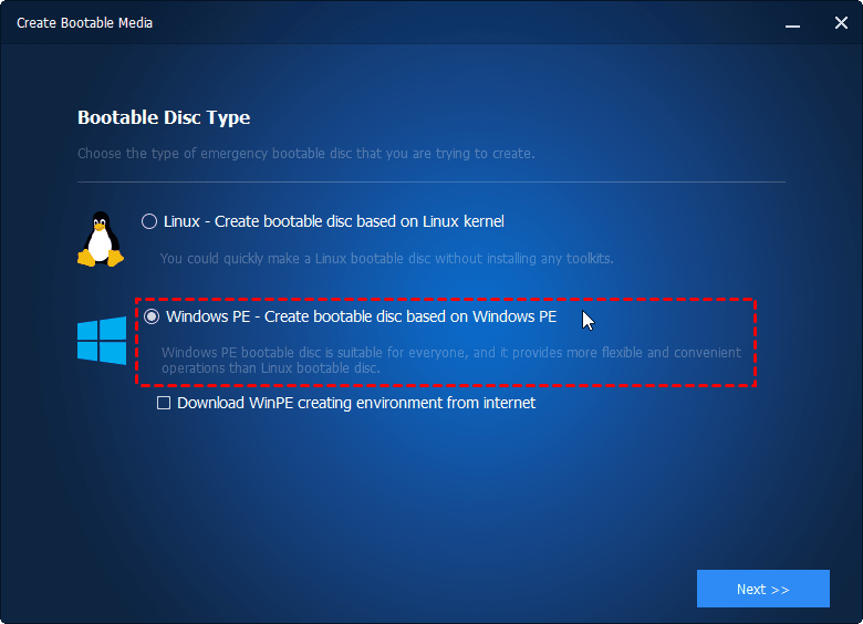 Select Bootable Disc Type