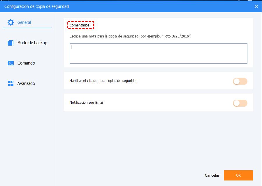 configuraciones de copia de seguridad