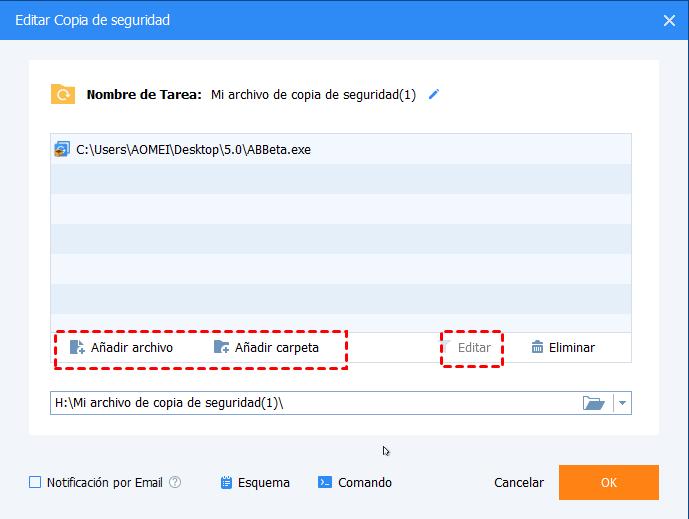 Editar origen de copia de seguridad de archivo