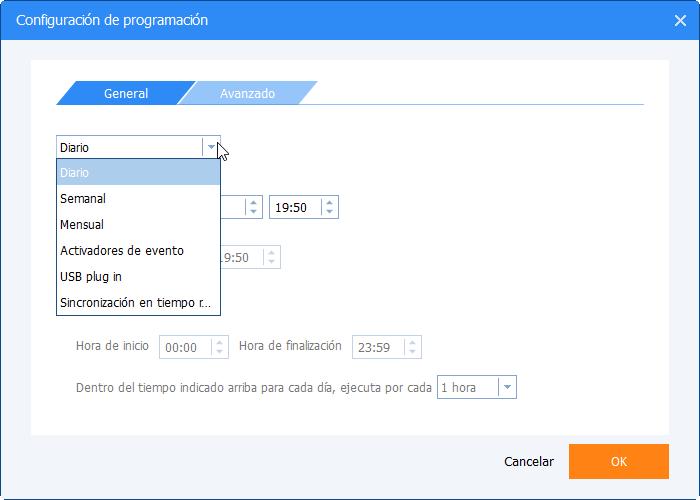 Configuraciones de programación