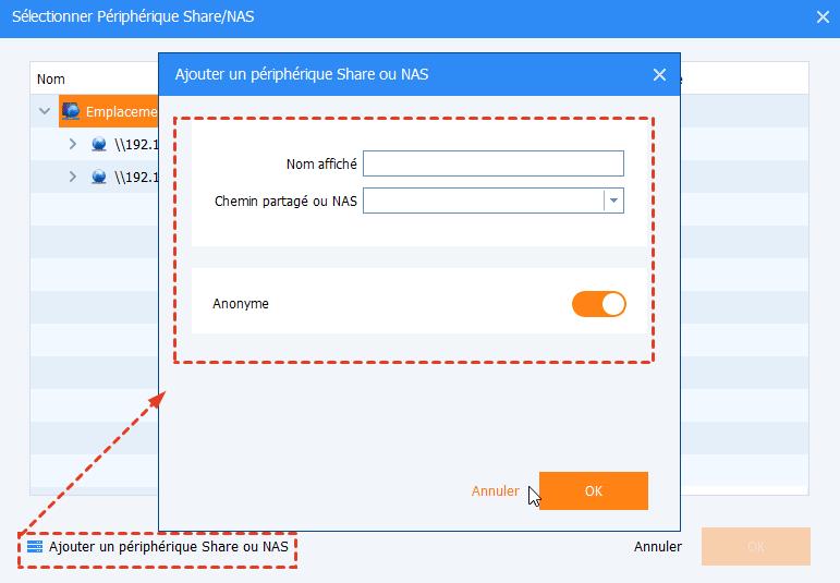 Ajouter un périphérique share/NAS