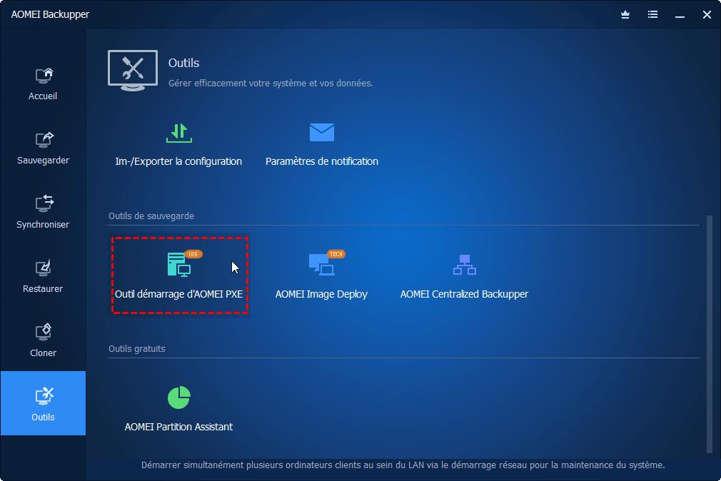outil de démarrage PXE