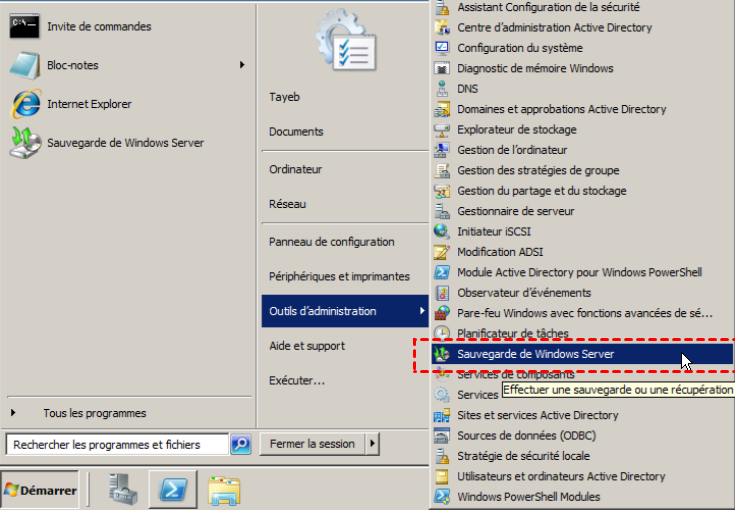 sauvegarde de windows server