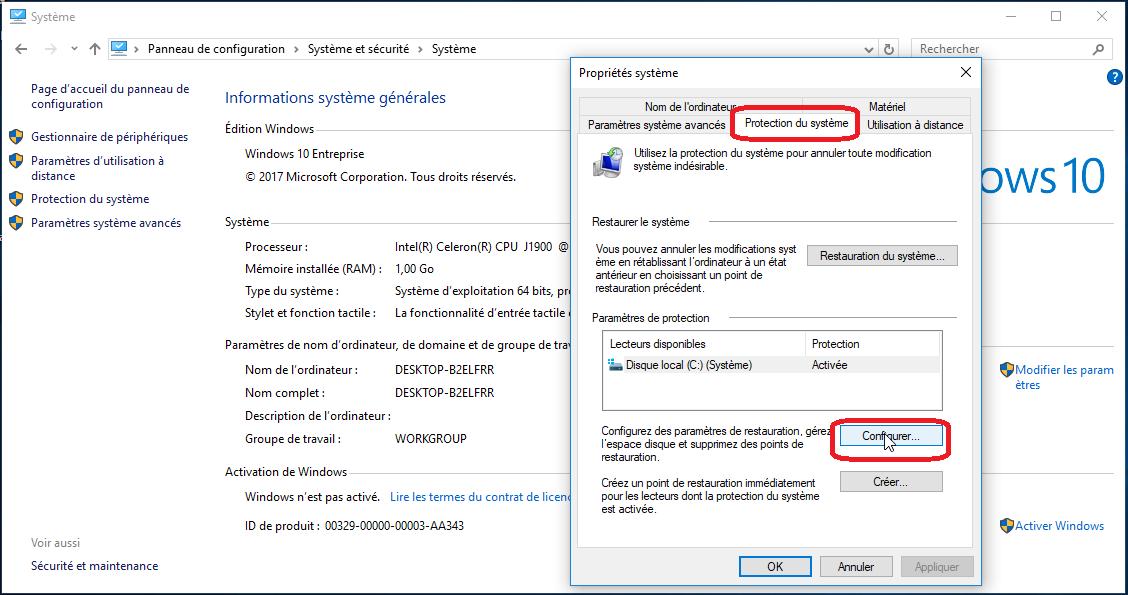 paramètres système de windows 10