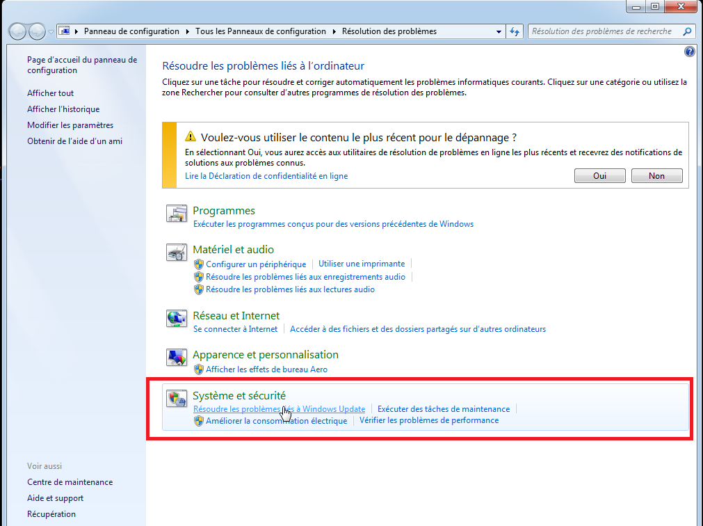 resolution des problemes windows