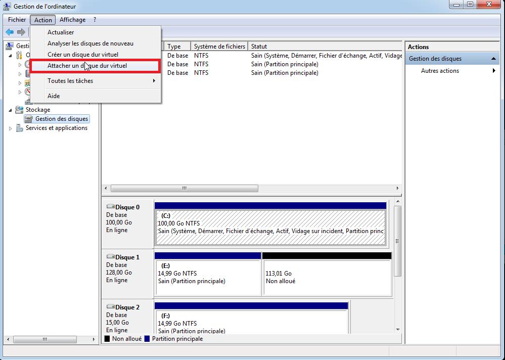 attacher un disque dur virtuel
