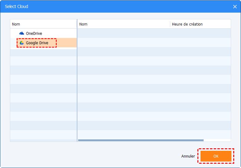 Sélectionner Google Drive