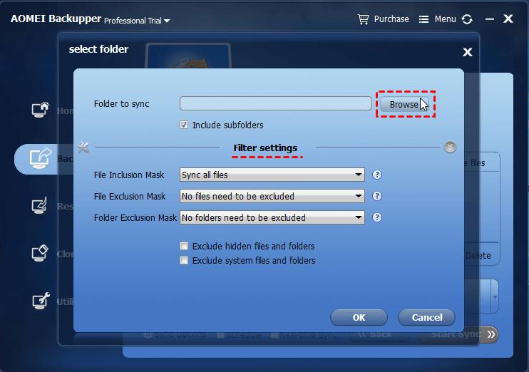 Select Sync Folder