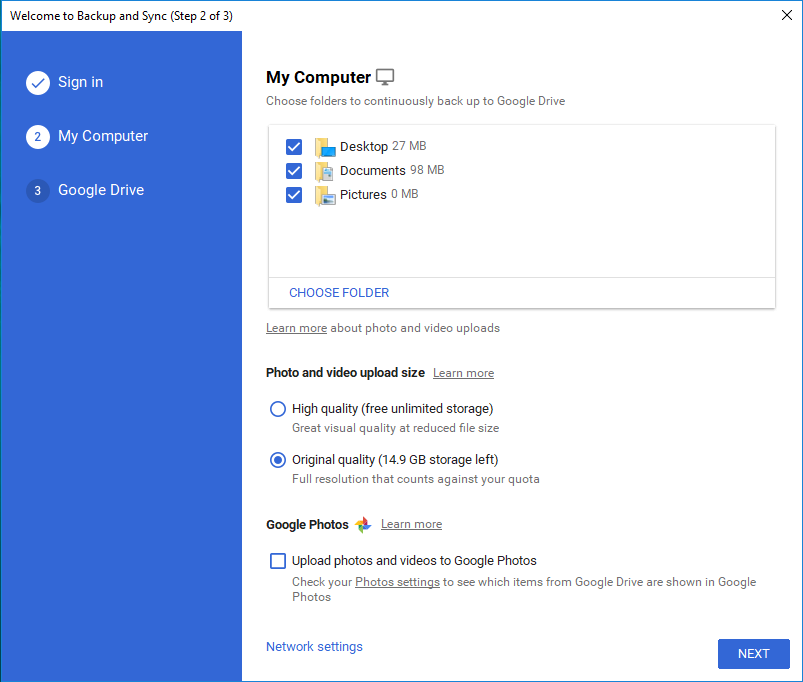 Google Drive Backup and Sync Computer Settings