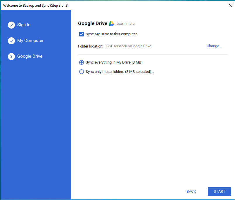 Google Drive Backup and Sync Drive Settings
