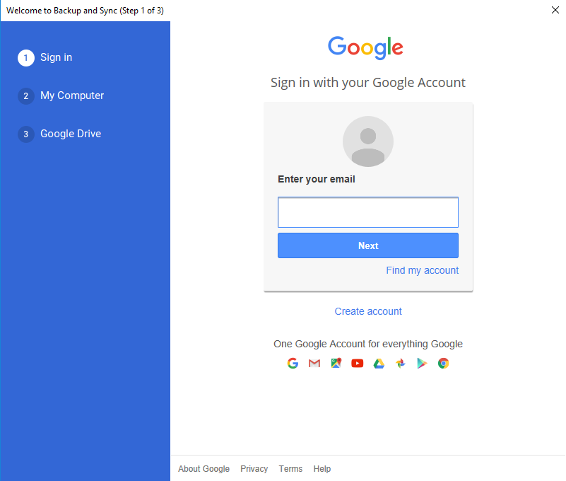 Google Drive Backup and Sync Sign in