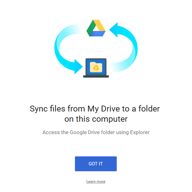 Google Drive Backup and Sync Sync Information