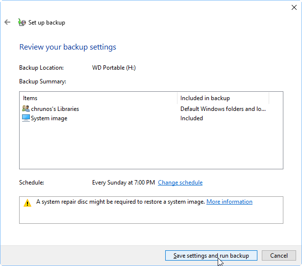 Save Settings And Run Backup