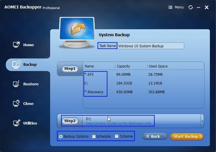 Select External Hard Drive to Store Backup