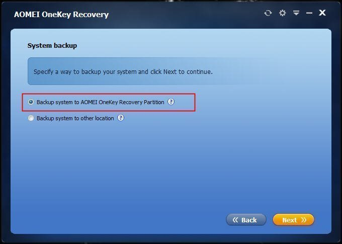 Backup System to Recovery Partition