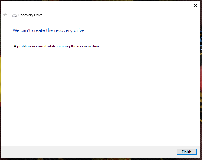 Failed to Create Recovery Disk