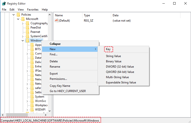 Create WindowsUpdate Key