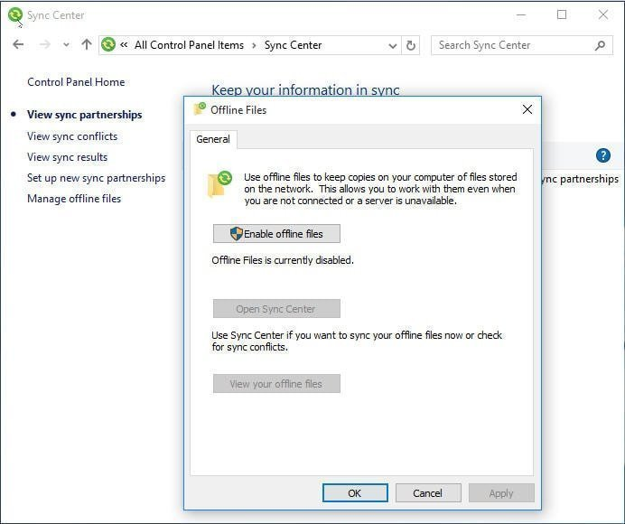 How to Enable Offline Files in Windows 10 and Sync it?