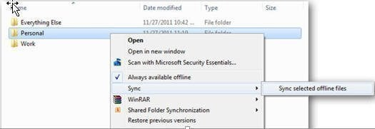 Sync with Offline Files Folder Min