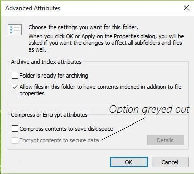 Encrypt Contents to Secure Data Greyed out Windows 10