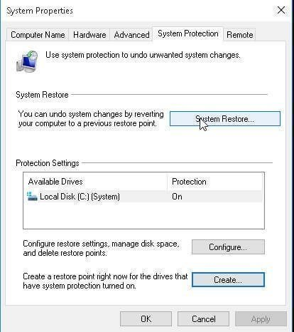 Create Windows 10 System Restore Point