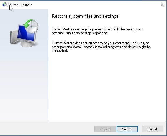 Restore System Files and Settings from Restore Point