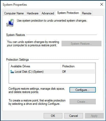 System Restore Greyed out Windows 10