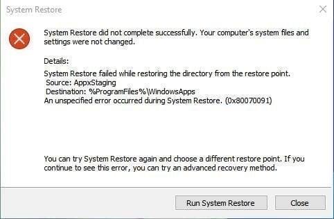 System Restore not Working Windows 10