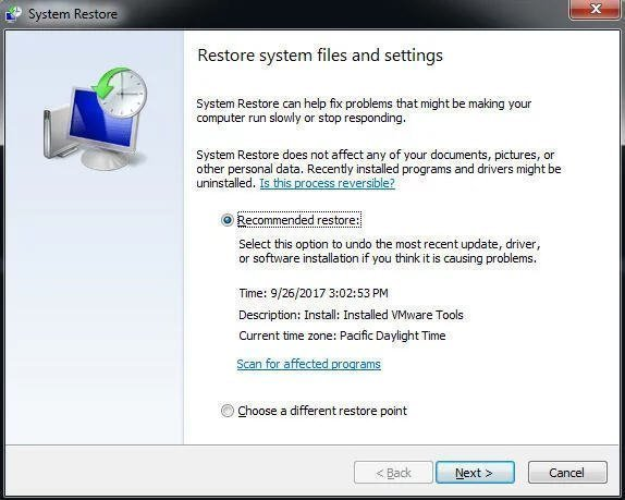System Restore from Boot Windows 7
