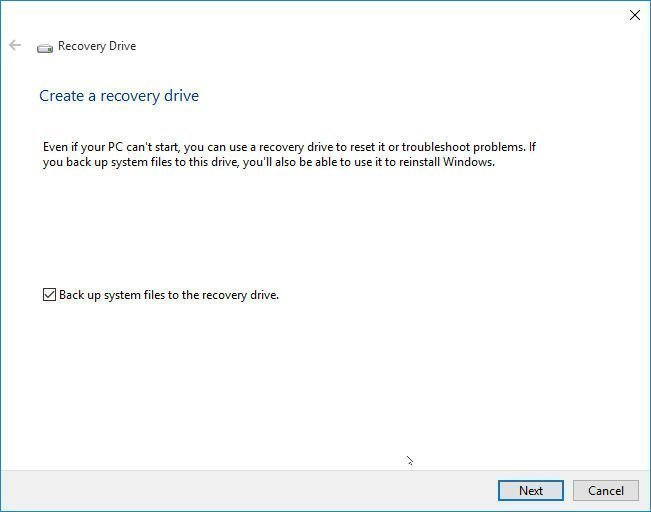 Backup System Files to Recovery Drive