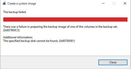 Backup Error 0x807800C5